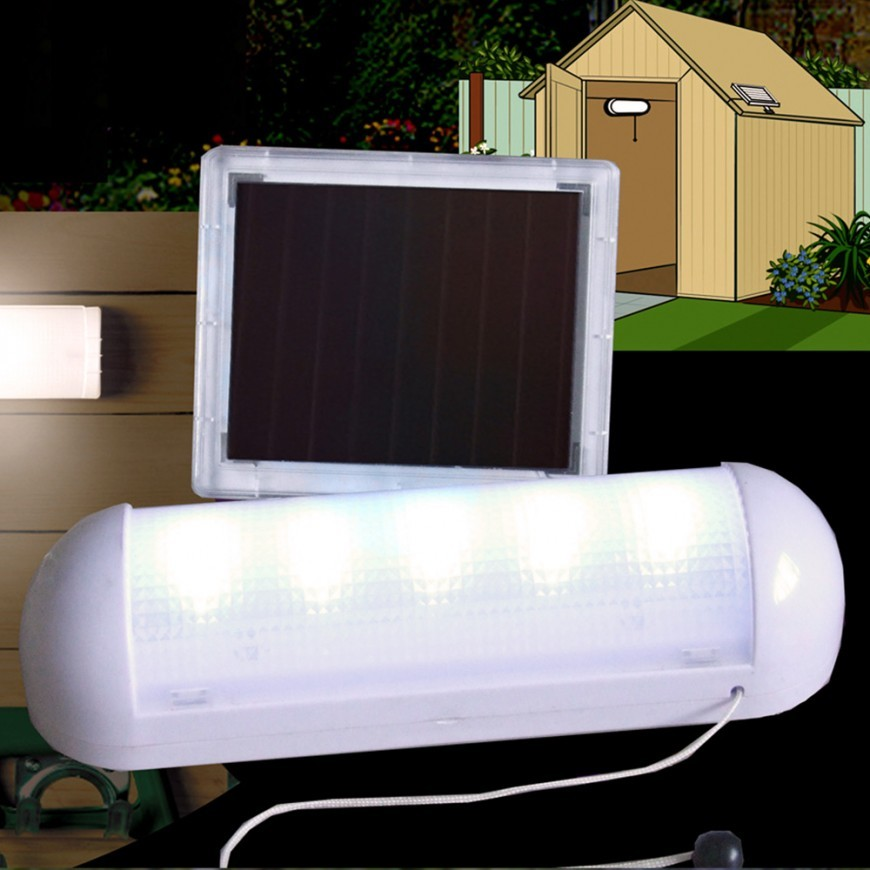 solar powered white led shed light. Black Bedroom Furniture Sets. Home Design Ideas